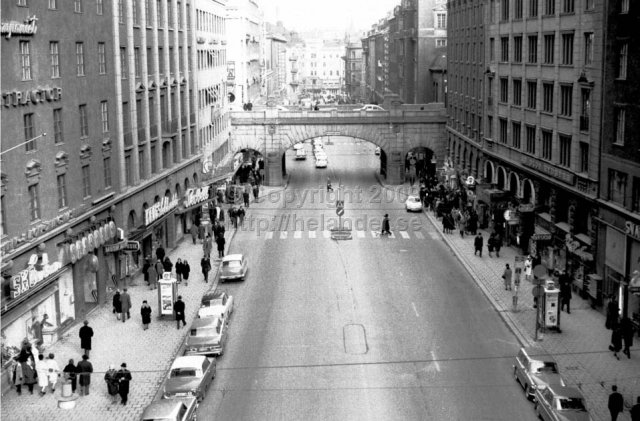Kungsgatan, Stockholm. Traffic is still driving on the left side (the deflection took place in 1967). (1965)