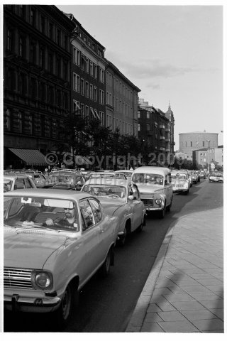 Traffic congestion, Odenplan, Stockholm. (1969)