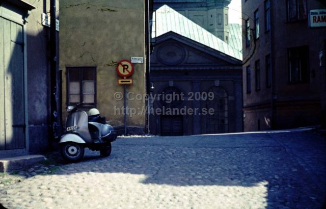 Roddargatan, Södermalm, Stockholm. Katarina church is in the background. (1960\'s)