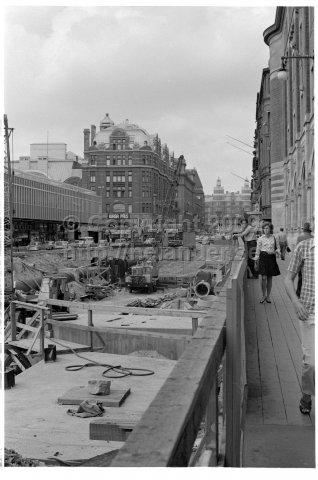 Construction work at Vasagatan for Järvabanan (metro blue line), Stockholm. (1971)
