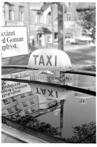 Taxi sign, Stockholm. (1971)