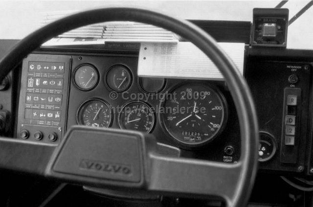 View from drivers seat on a SL-bus, Stockholm. (1987)