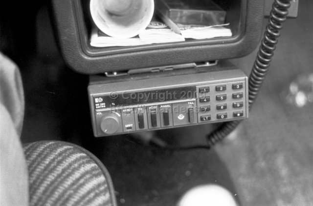 Communications radio in a car at SL-buses, Stockholm. (1987)