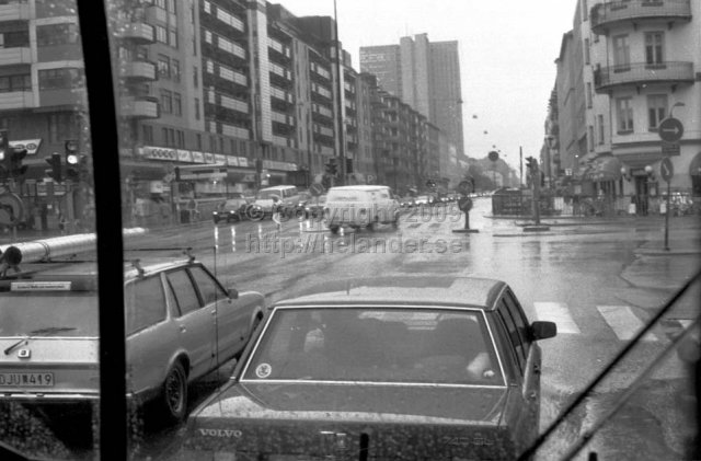 View from a SL-bus at Götgatan crossing Ringvägen, Södermalm, Stockholm. (1987)