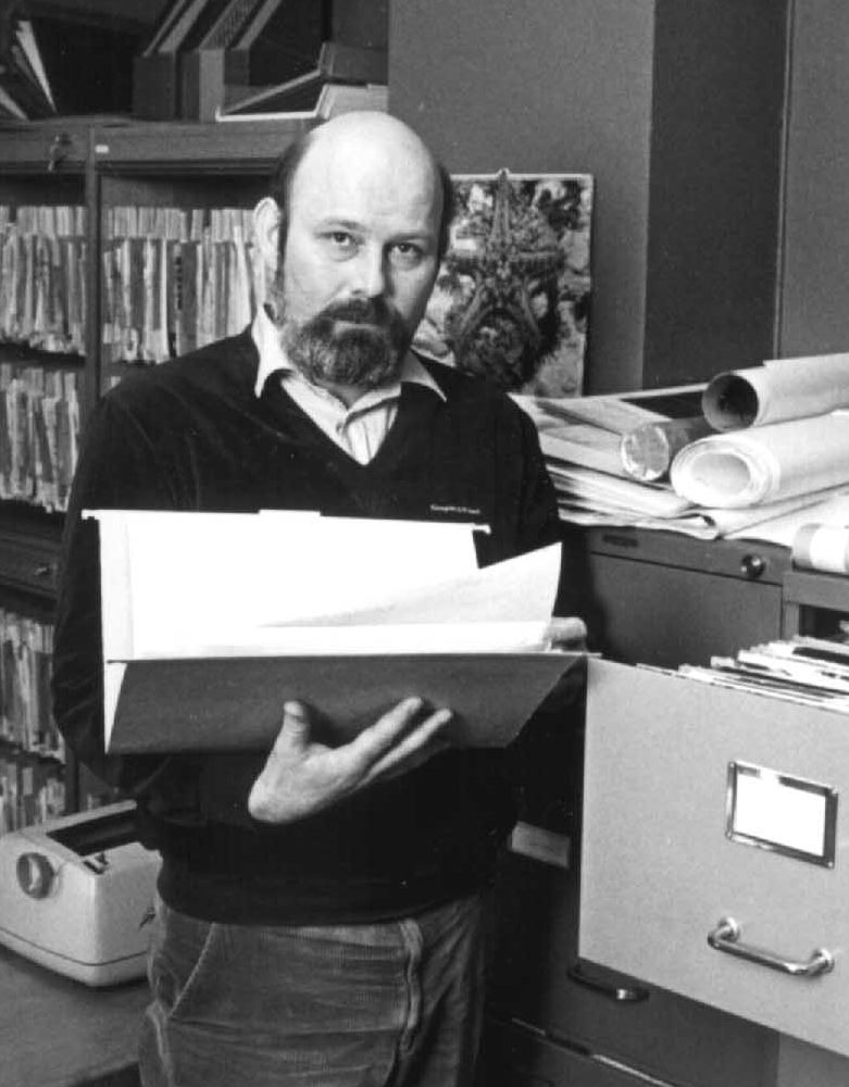 Donald Helander at work in the image archive at his former employer Almqvist & Wiksell (1984)